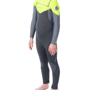 WSM9KB_Junior Dawn Patrol 3.2mm Chest Zip Wetsuit_LIME_SIDE