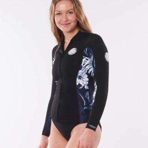 WVE8BW_Womens Dawn Patrol LS Front Zip Jacket_BLACK_NAVY_SIDE