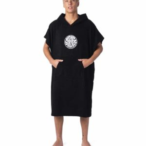 CTWCE1_Icons Hooded Towel_BLACK_FRONT POCKET