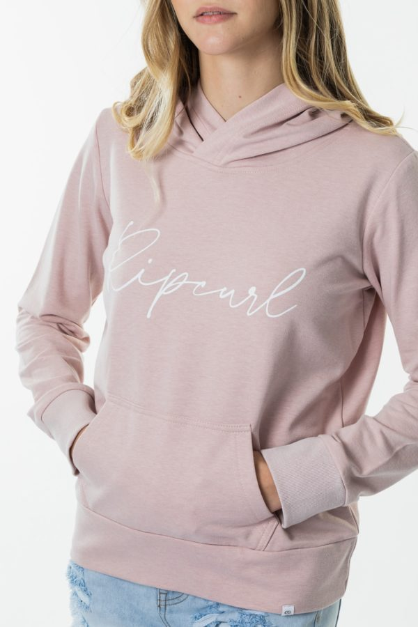 LFENW3_RIPCURL CORE HOODY_PINK_FRONT DETAIL